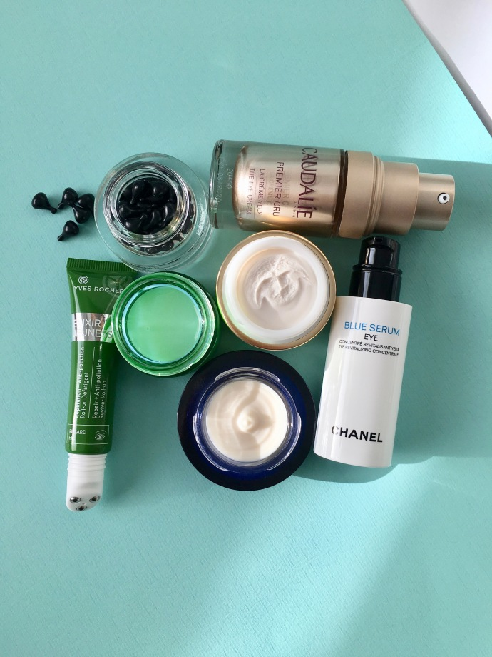eye creams estée lauder yves rocher collistar the body shop guerlain caudalie premier cru blue serum chanel