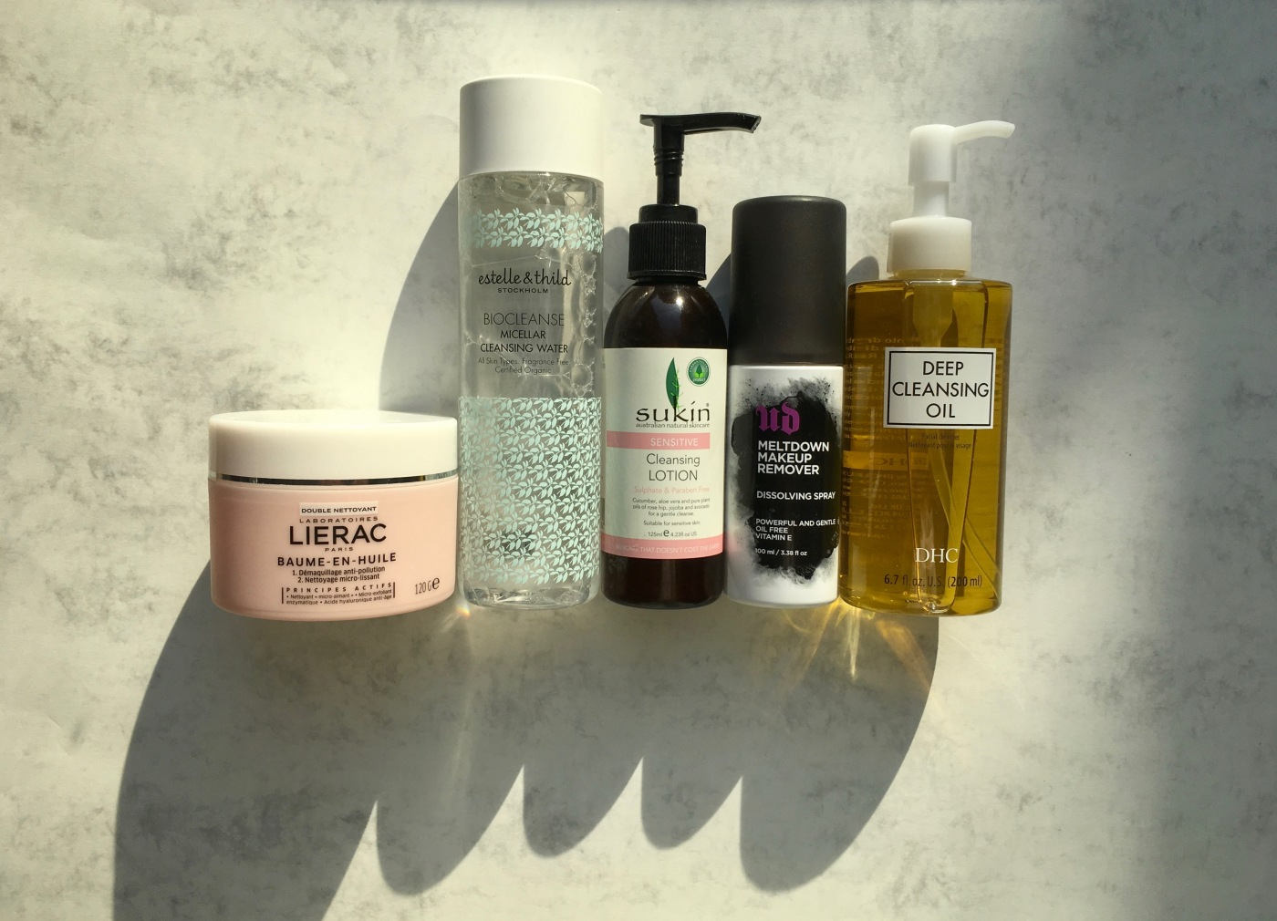 cleanser sukin cleansing lotion DHC cleansing oil estelle & thild lierac urban decay