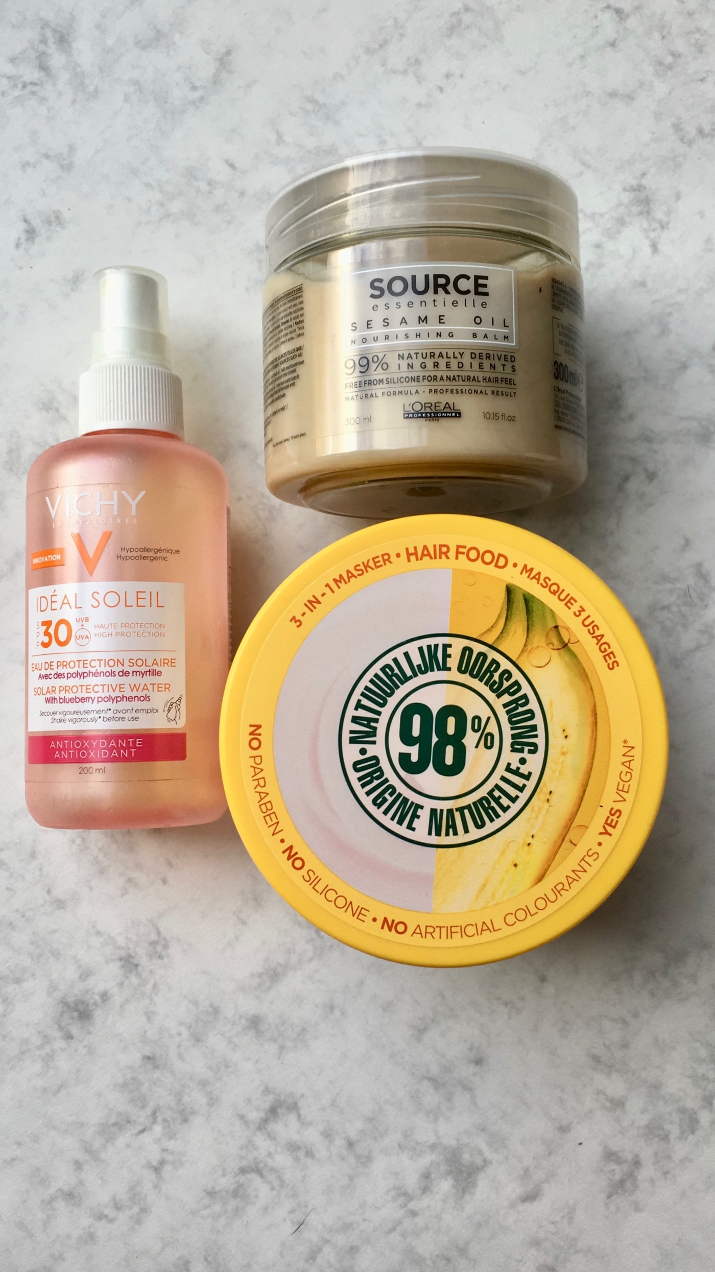 garnier hair food source essentielle L'Oréal professionnel Idéal Soleil Vichy beauty favorites 2018