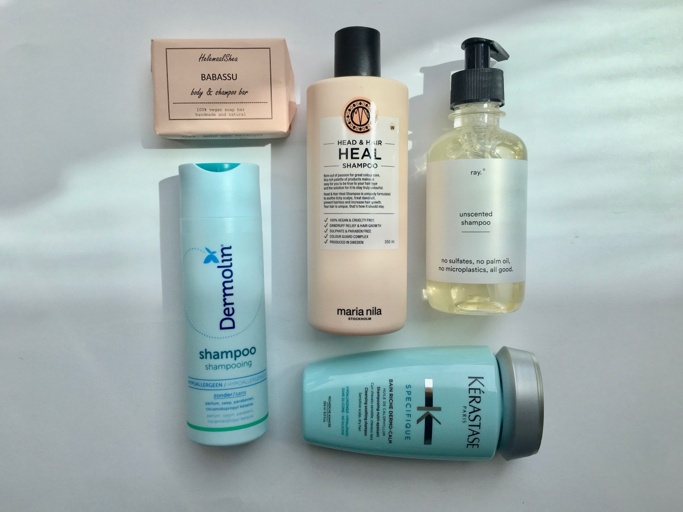 dermolin shampoo babassu body & shampoo bar helemaal shea maria nila head & hair heal shampoo unscented shampoo ray kérastase spécifique shampoo