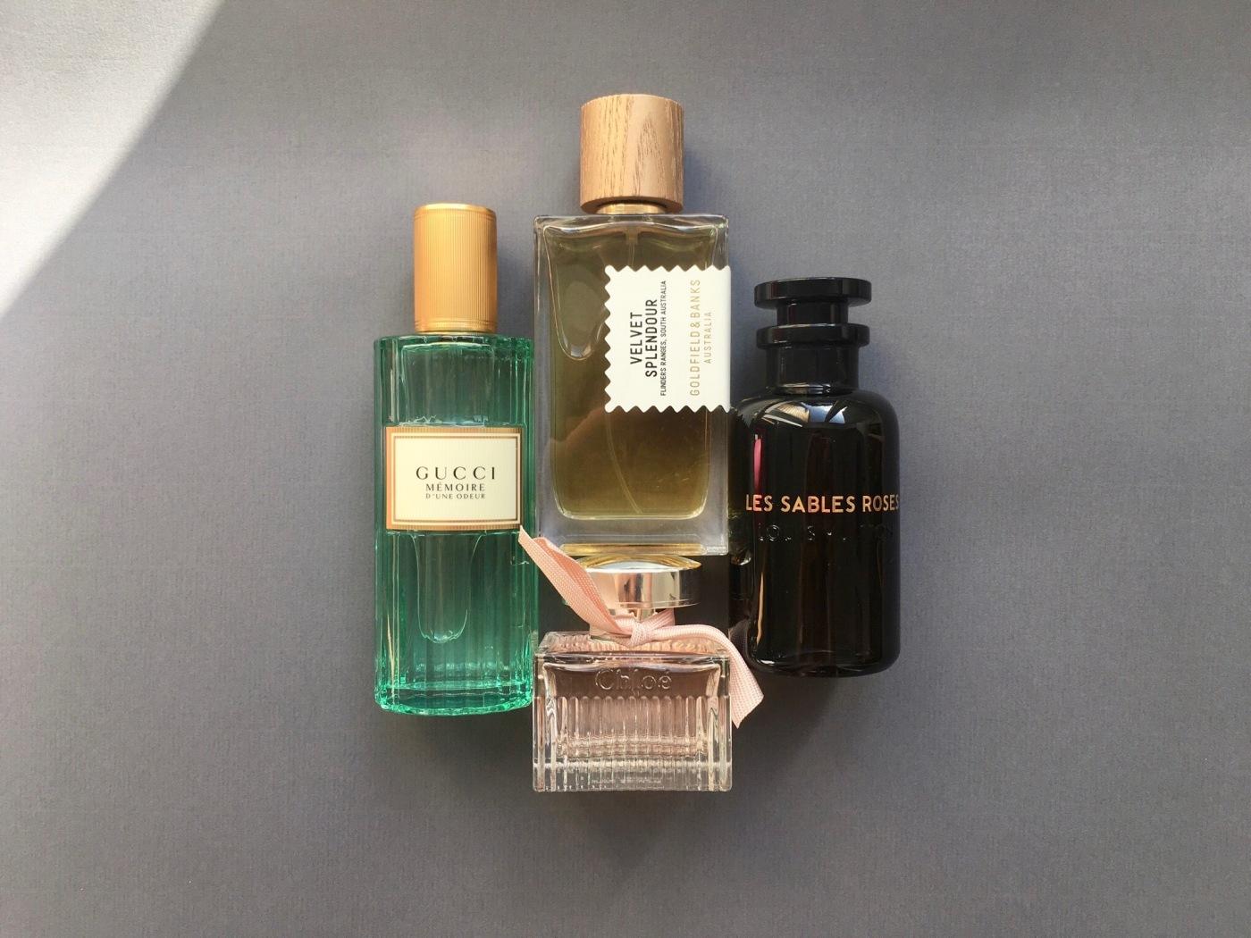 mémoire d'une odeur gucci chloé goldfield & banks velvet splendour les sables rosées louis vuitton perfume fragrance