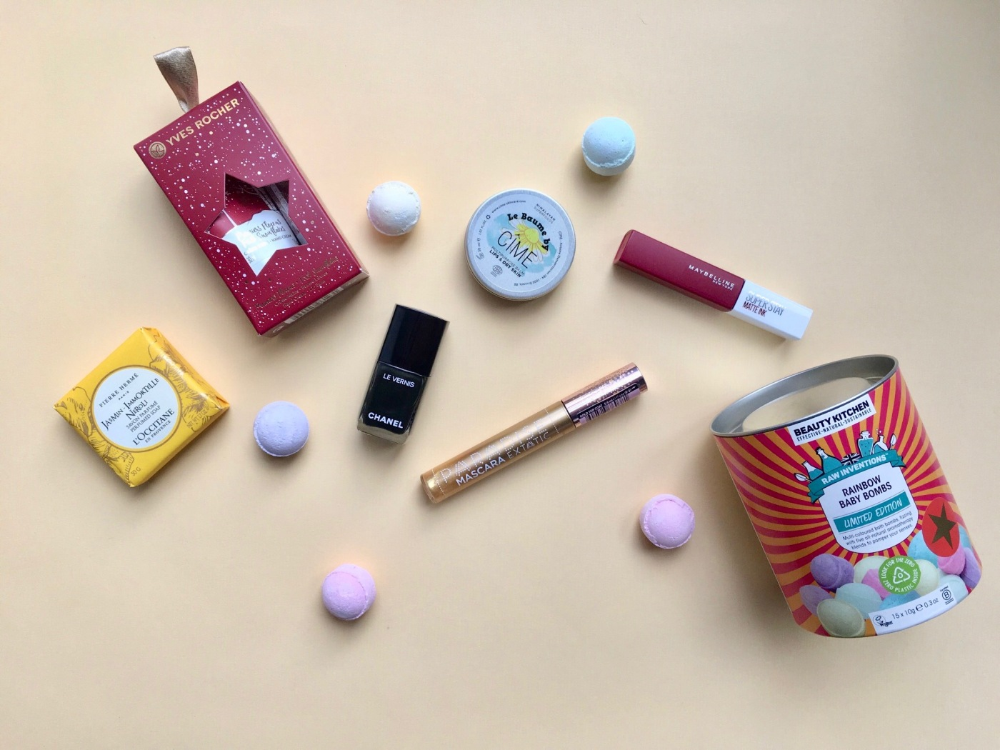 rainbow baby bombs beauty kitchen le baume by cîme le vernis chanel pierre hermé l'occitane maybelline superstay matte ink l'oréal paris paradise extatic mascara