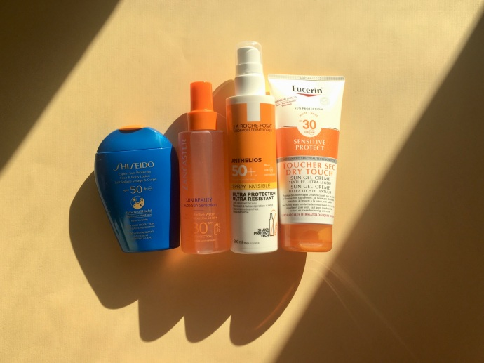 shiseido sun beauty lancaster anthelios la roche-posay eucerin dry touch