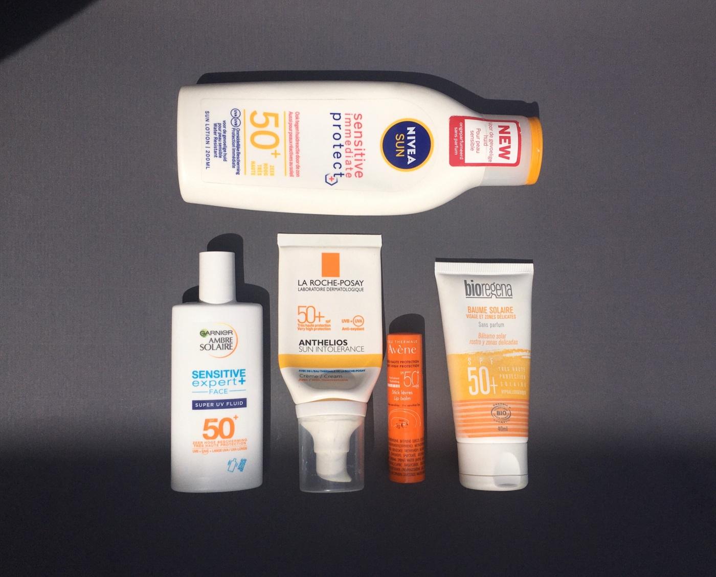 fragrance free sunscreen Nivea Sun Sensitive Immediate Protect+ Garnier Ambre Solaire Sensitive Expert+ Face La Roche-Posay Anthelios Sun Intolerance Avène Bioregena Baume Solaire SPF50+