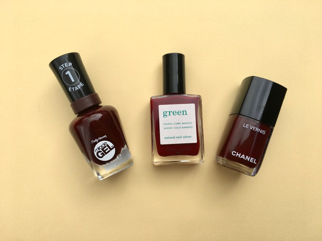 nail polish manucurist green nail polish dark pansy le vernis interdit chanel sally hansen miracle gel wine stock