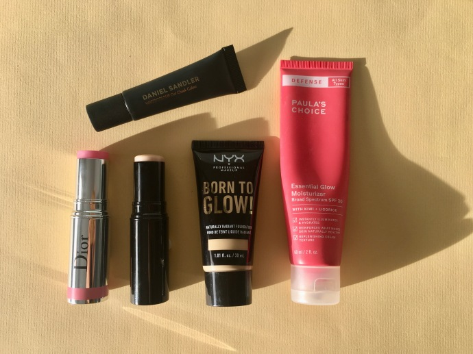glowy skin born to glow foundation nyx defense essential glow moisturizer paula's choice daniel sandler dior le baume essentiel chanel