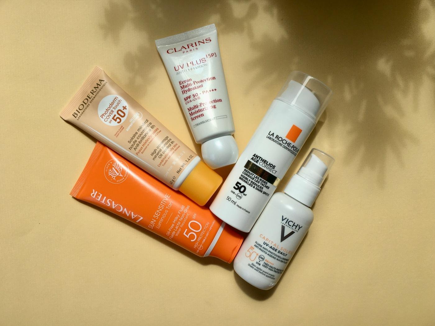 lancaster bioderma vichy la roche-posay clarins daily uv sunscreen