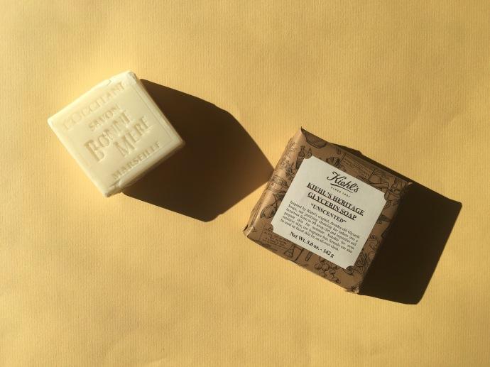 l'occitane Kiehl's heritage glycerin soap fragrance-free soap bars
